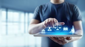 Arbeitsrecht-Rechtsanwalt-Legal Business Internet-Technologie-Konzept lizenzfreie stockbilder