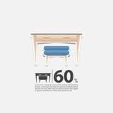 Arbeitsschreibtisch und Stuhl im flachen Design für Bürorauminnenraum Minimale Ikone für Möbelverkaufsplakat Stockfotos