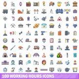 100 Arbeitsstundeikonen eingestellt, Karikaturart Lizenzfreie Stockfotografie