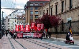 Arbeitstagesdemonstration in Vitoria-Gasteiz Stockbilder