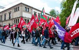 Arbeitstagesdemonstration in Vitoria-Gasteiz Stockfoto