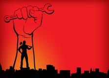 Arbeitstagesweltarbeitskraft-Tagesroter gelb-orangeer Hintergrund mit Handmann im Stadthintergrund, der neue ?raentschlie?ungsbew stock abbildung