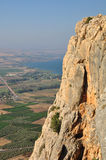 Arbel cliff. View of Galilee landscape and Kinneret lake from Arbel cliff.  Israel Stock Photography