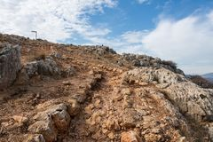 Arbel Nature Reserve And National Park. Trail at Arbel Nature Reserve And National Park trail, Israel Stock Photos