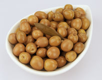 Arbequina Olives. Served on a plate typical of Mediterranean cuisine Royalty Free Stock Images