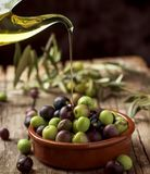 Arbequina olives from Spain. Closeup of an earthenware bowl full of arbequina olives from Catalonia, Spain, a cruet with olive oil and some twigs of olive tree Stock Photography