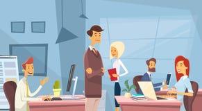 Arbeta för Businesspeople för arbetsplats för skrivbord för kontor för affärsfolk vektor illustrationer