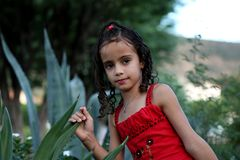 arbeta i trädgården att leka för flicka Arkivbild