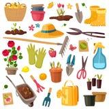 Arbeta i trädgården avgiftuppsättningen vektor illustrationer