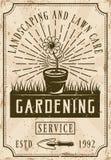 Arbeta i trädgården den tjänste- affischen i tappningstil Vektor Illustrationer