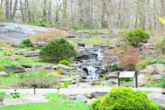 Arbeta i trädgården eller parkera med den mini- vattenfallet royaltyfria bilder