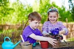 Arbeta i trädgården för ungar Arkivbilder
