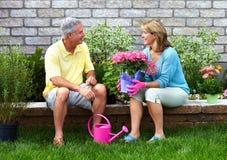 Arbeta i trädgården höga par. royaltyfri bild