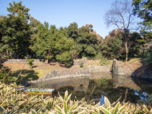 arbeta i trädgården hamarikyuen japan tokyo royaltyfri bild