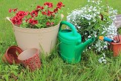 Arbeta i trädgården hjälpmedel och blommor Fotografering för Bildbyråer