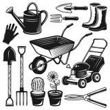 Arbeta i trädgården hjälpmedel och utrustningvektorobjekt Stock Illustrationer