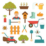 Arbeta i trädgården hjälpmedelvektorsymboler på vit stock illustrationer