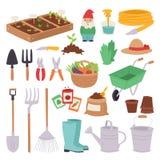 Arbeta i trädgården hjälpmedlet för ekologi för miljön för naturen för våren för designen för symbolsuppsättningen det åkerbruka  Royaltyfri Fotografi