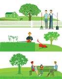 arbeta i trädgården home vektor illustrationer