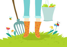 arbeta i trädgården illustration för agricolturebegrepp Royaltyfri Foto