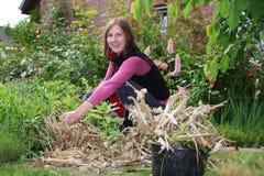 arbeta i trädgården kvinnaarbeten Royaltyfria Bilder