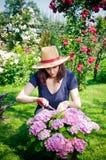 arbeta i trädgården kvinnabarn arkivbilder