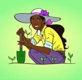 arbeta i trädgården kvinnabarn vektor illustrationer
