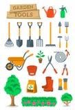 Arbeta i trädgården lantbruk bearbetar, och instrument sänker vektorsymboler royaltyfri illustrationer