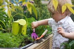 arbeta i trädgården litet barn royaltyfria bilder