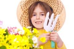arbeta i trädgården lyckligt barn för flicka Royaltyfria Bilder