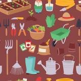 Arbeta i trädgården modellen för åkerbruk för design för symbolsuppsättning den sömlösa för vår för natur för miljö för ekologi f Arkivfoton