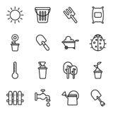 Arbeta i trädgården och åkerbruka symboler Arkivfoto
