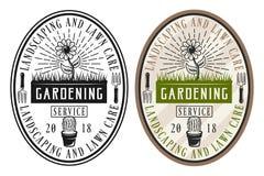 Arbeta i trädgården serviceuppsättningen av två stilklistermärkear Royaltyfri Illustrationer