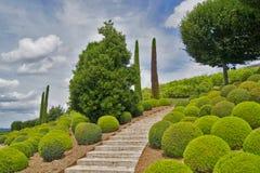 Arbeta i trädgården stentrappuppgången i en parkera av Amboise rockera france Royaltyfri Fotografi