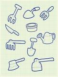 Arbeta i trädgården symbolen vektor illustrationer