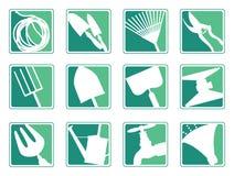 arbeta i trädgården symboler Fotografering för Bildbyråer