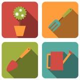 arbeta i trädgården symboler Vektor Illustrationer