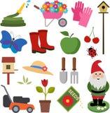 arbeta i trädgården symboler Arkivfoto