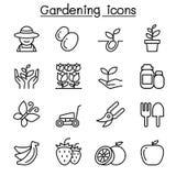 Arbeta i trädgården symbolsuppsättningen i den tunna linjen stil Arkivbild