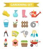 Arbeta i trädgården symbolsuppsättningen, lägenhetstil Trädgård- och fruktträdgårdsamlingen bearbetar garnering som isoleras på v Royaltyfri Foto