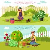 Arbeta i trädgården tecknad filmhorisontalbaner stock illustrationer