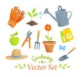 Arbeta i trädgården utrustningvektoruppsättningen Royaltyfri Bild