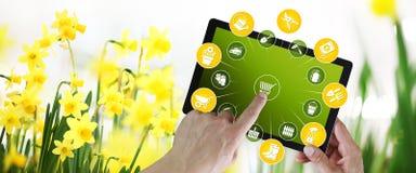 Arbeta i tr?dg?rden utrustninge-kommers begrepp, online-shopping p? den digitala minnestavlan, hand som pekar och peksk?rm med hj stock illustrationer