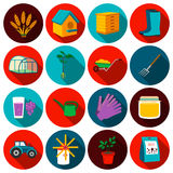 Arbeta i trädgården fastställda vektorsymboler Samling av lantgården, jordbruk, trädgårds- symboler Arkivbild