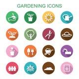 Arbeta i trädgården långa skuggasymboler Royaltyfri Foto