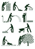 Arbeta i trädgården pictograms Royaltyfri Fotografi