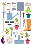 arbeta i trädgården set hjälpmedel Arkivfoton