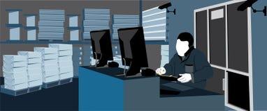 Arbeta inom ett lager Arkivbild