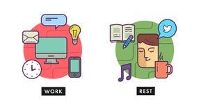 Arbeta och vila kontoret Arkivbild