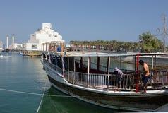 Arbeta på en Dhow i Doha royaltyfria foton